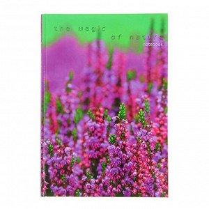 """Колледж-Тетрадь А5, 100 листов в клетку """"Пейзаж. Цветущая поляна"""", твердая обложка, глянцевая ламинация, сшитый блок"""