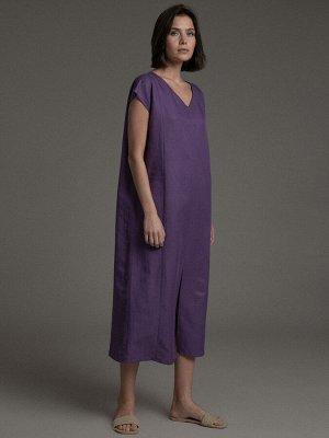 Платье Состав ткани: 47% Хлопок; 37% Вискоза; 16% Лен Описание модели Хит на каждый день. Платье прямого кроя с V-образным вырезом насыщенного фиолетового оттенка дополнено накладными карманами и супе