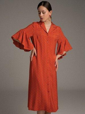 Платье Состав ткани: Вискоза 100% Длина: 112 См. Описание модели Модное сочетание. Новинка, собравшая в себе множество сезонных трендов - рубашечный крой, мелкий графический принт, романтичный двойной