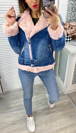 """Женская Одежда 24002 """"Джинсовая Ворот Мех"""" Розовая"""