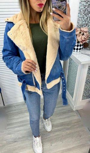 """Женская Одежда 24002 """"Джинсовая Ворот Мех"""" Бежевая"""