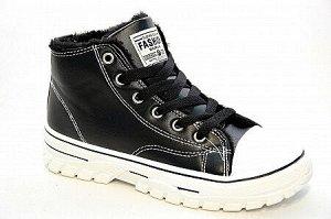 Кроссовки на меху Н618-1 черн/бел