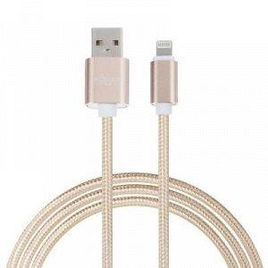 FORZA Кабель для зарядки iP, в перламутровой оплетке, 1,5 м, 1А, синхр. с ПК, 3 цвета