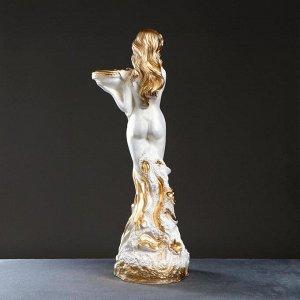 "Фигура ""Девушка обнаженная на камнях"" белая, 78х30х28см"