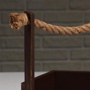 """Кашпо деревянное """"Шестигранник"""", ручка верёвка, золотой винтаж, 20?18?8(23) см"""