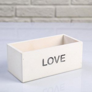 """Кашпо деревянное 20?10?8 см """"Элегант, LOVE"""", белое"""