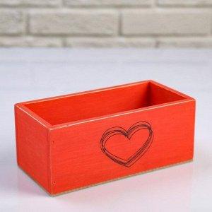 """Кашпо деревянное 20?10?8 см """"Элегант, сердце греет"""", красное"""