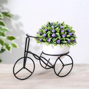 Подставка для цветов Доляна «Велосипед», d=8,4 см, 14?9,8?20 см, цвет чёрный