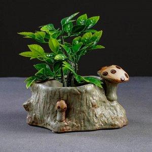 """Кашпо керамическое """"Пень с грибами"""" 15*12*8см"""