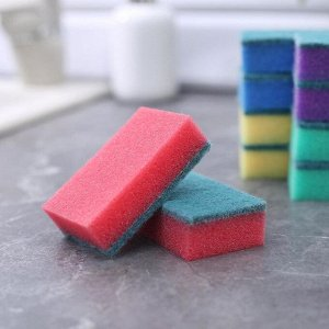 Набор губок бытовых с чистящим слоем Доляна «Эконом», 7,5?4,5?2,5 см, 10 шт