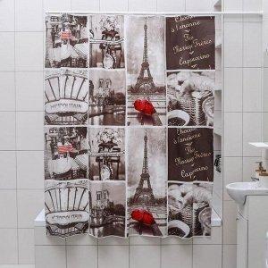 Штора для ванной комнаты Доляна «Париж ретро», 180?180 см, EVA, цвет белый