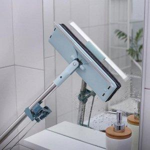Окномойка с телескопическай стальной ручкой, отжимом и сгоном, 10,5?5,5?146 см, микрофибра, цвет МИКС