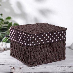 Корзина для хранения плетёная с крышкой Доляна «Горошек», 20?20?15 см, цвет коричневый