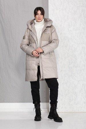 Пальто Пальто Beautiful&Free 4016 бежевый  Состав ткани: ПЭ-100%;  Полупальто женское, зимнее, из гладкокрашеной полиэфирной ткани двух видов, с утепляющей подкладкой из 2-х слоев синтепона, на прита