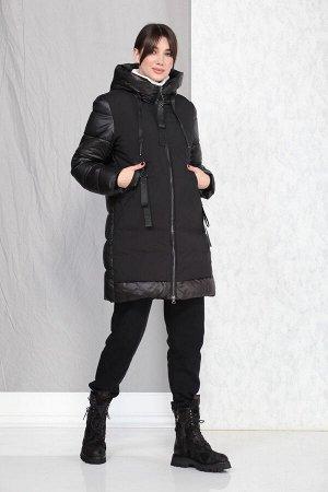 Пальто Пальто Beautiful&Free 4001 черный  Состав ткани: ПЭ-100%;  Полупальто женское, демисезонное, из гладкокрашеной хлопкополиэфирной ткани, с утепляющей подкладкой из 2-х слоев синтепона, на прита