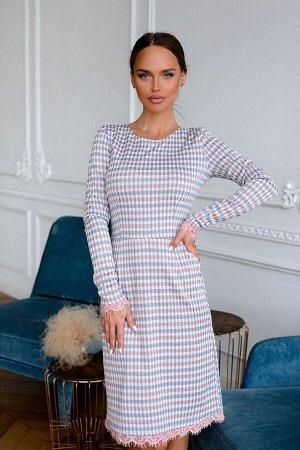 Платье Платья в модную клетку в нюдовой расцветке актуальная и востребованная модель. Такое платье должно быть в гардеробе у каждой женщины и девушки! Кружевная отделка в виде декора придаст платью