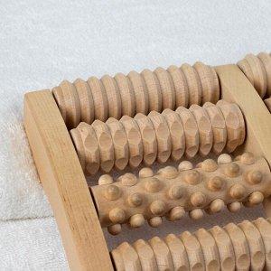 Массажёр «Барабаны», деревянный, 5 комбинированных рядов