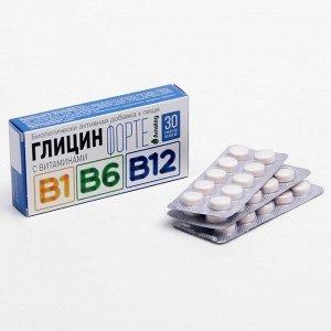 Глицин форте с витаминами В1, В6, В12, 30 таблеток по 600 мг