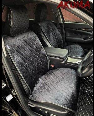 Накидки на сиденья премиум Алькантара полный комплект черный с черной строчкой