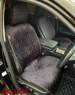 Накидки на сиденья премиум Алькантара полный комплект черный с красной строчкой