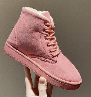 Зимние ботинки на шнурках  розовые