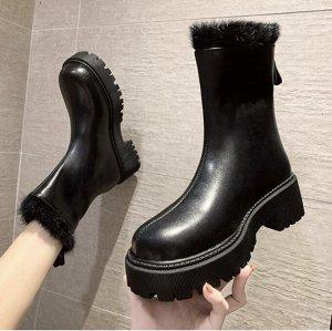 Осенне-зимние ботинки Martin на толстой подошве, утепленные флисом черные