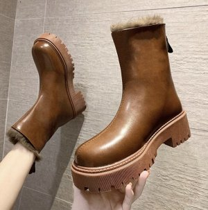 Осенне-зимние ботинки Martin на толстой подошве, утепленные флисом темно-коричневые