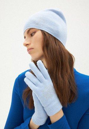 Перчатки с узором «Снежинка», цвет голубой