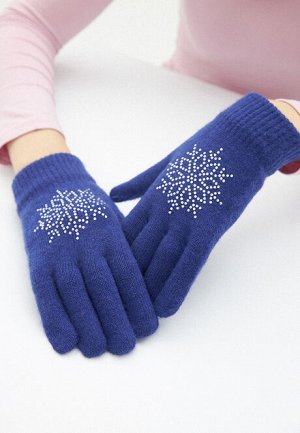 Перчатки с узором «Снежинка», цвет синий