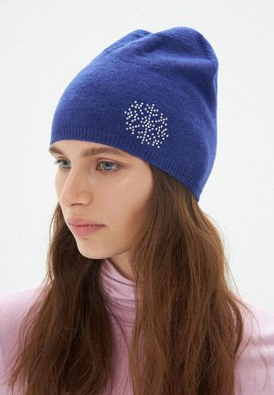 Шапка с узором «Снежинка», цвет синий