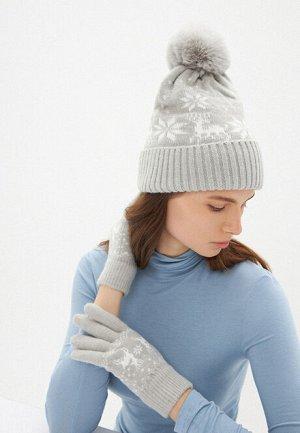 Перчатки с новогодним орнаментом, цвет серый