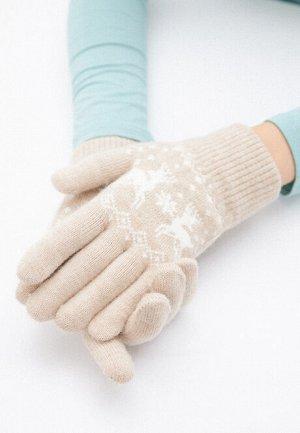 Перчатки с новогодним узором, цвет бежевый