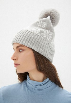 Двойная шапка с новогодним узором, цвет серый