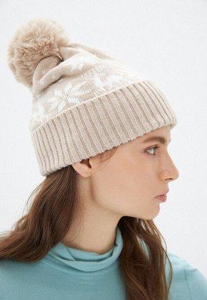 Двойная шапка с новогодним узором, цвет бежевый