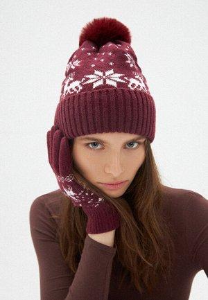 Двойная шапка с новогодним узором, цвет бордовый