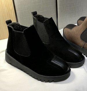 Осенне-зимние ботинки на флисе черные