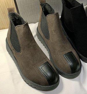 Осенне-зимние ботинки на флисе  темный хаки