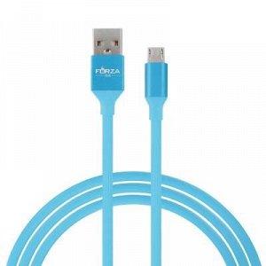 FORZA Кабель для зарядки Micro USB, 1м, 2A, синхр. с ПК, прорезиненный цветной