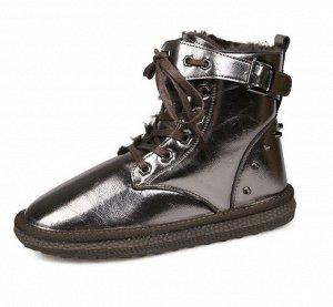 Зимние ботинки на иск. мехе бронза