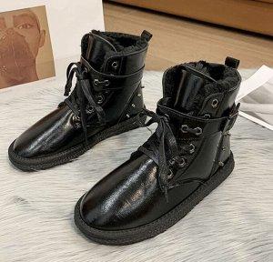 Зимние ботинки на иск. мехе черные