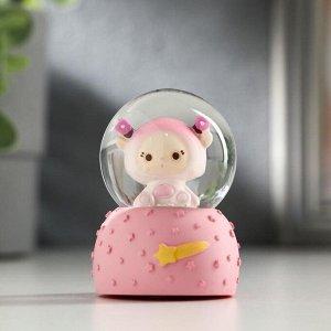 "Сувенир полистоун водяной шар, свет ""Малышка-инопланетянка"" от батар МИКС 6,5х5х5 см   511480"