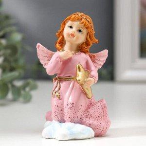 """Сувенир полистоун """"Девочка-ангел в розовом платье с голубем/звездой""""  9,5х4,8х5,8 см"""