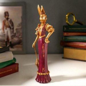"""Сувенир полистоун """"Мадмуазель Зая с зонтом в фиолетовом платье"""" под дерево 26х6х8,5 см"""