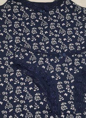 Комплект майка и трусы темно-синие с веточками, цветочками, бабочками