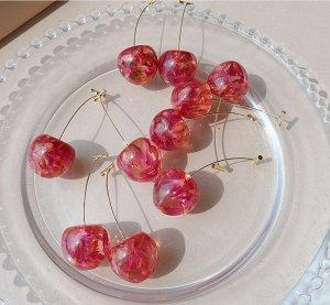 Серьги 2.1*5.8cm Крупная вишня, цвет вишневый, без желтизны