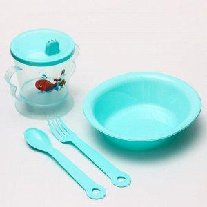 Набор для кормления: миска, поильник, вилка, ложка, цвет МИКС