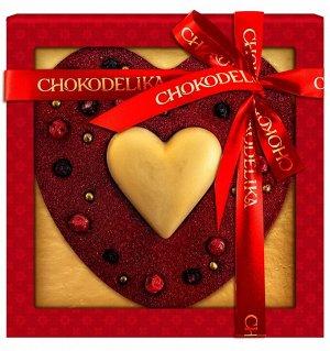 """Шоколадное изделие """"Бархатное сердце"""" + БИРКА  НОВЫЙ  ГОД (МОЖНО СНЯТЬ)"""