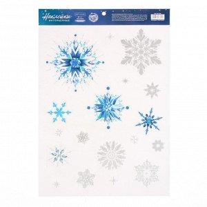 Наклейка виниловая «Волшебные снежинки»,с блестящей пластизолью, 29,7 х 42 см