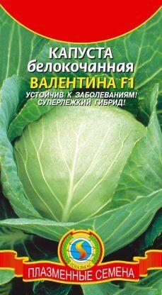 Капуста б/к Валентина F1 ЦВ/П (ПЛАЗМА) 0,1гр позднеспелый