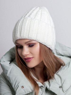 Шапка женская, крупная вязка коса с отворотом, молочный